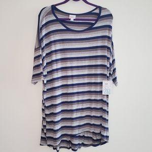 LuLaRoe Irma Gray & Blue Stripes 2X